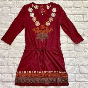 {Johnny Was} Maroon Embroidered Dress